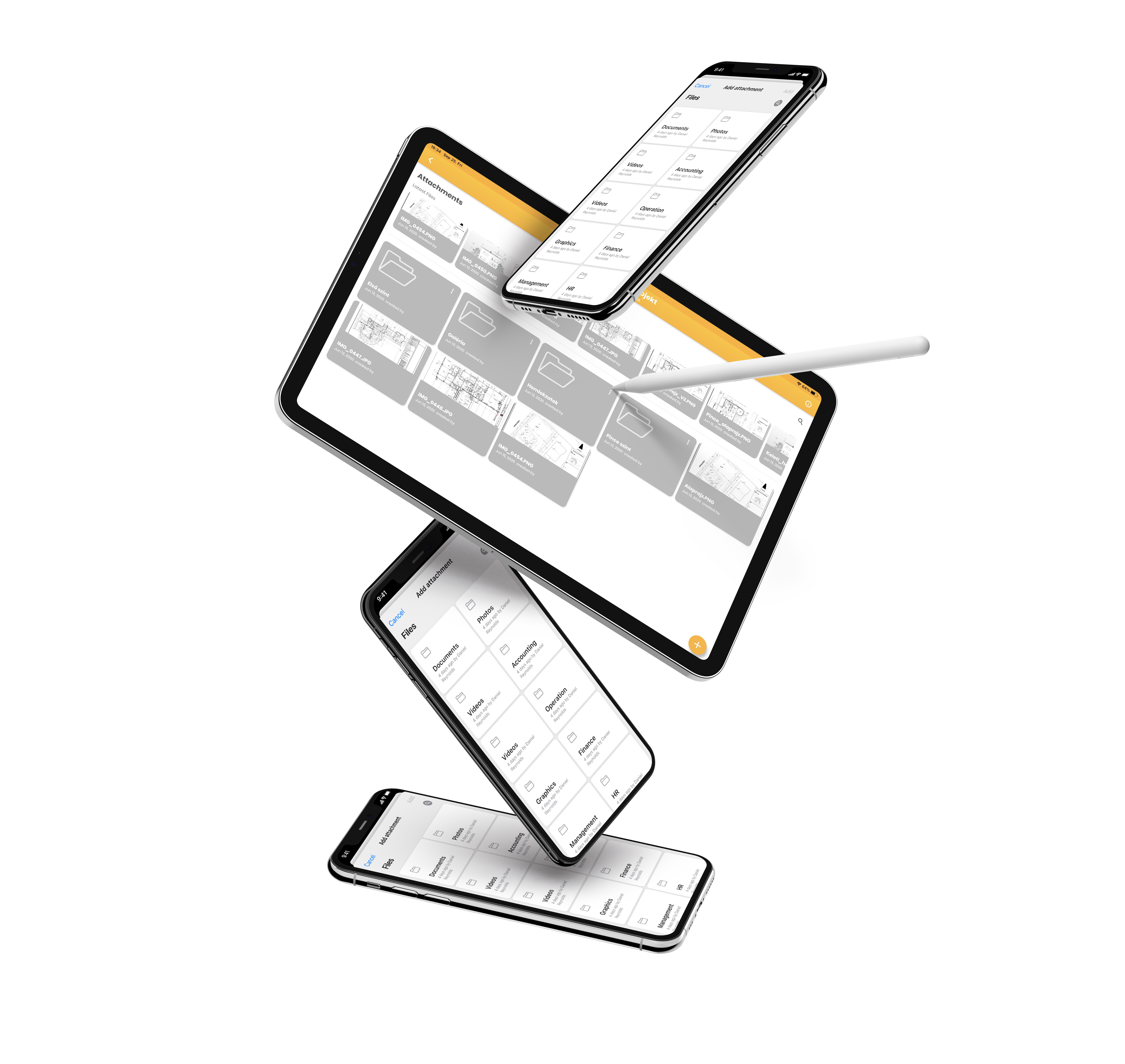 project management software file management on floating apple devices