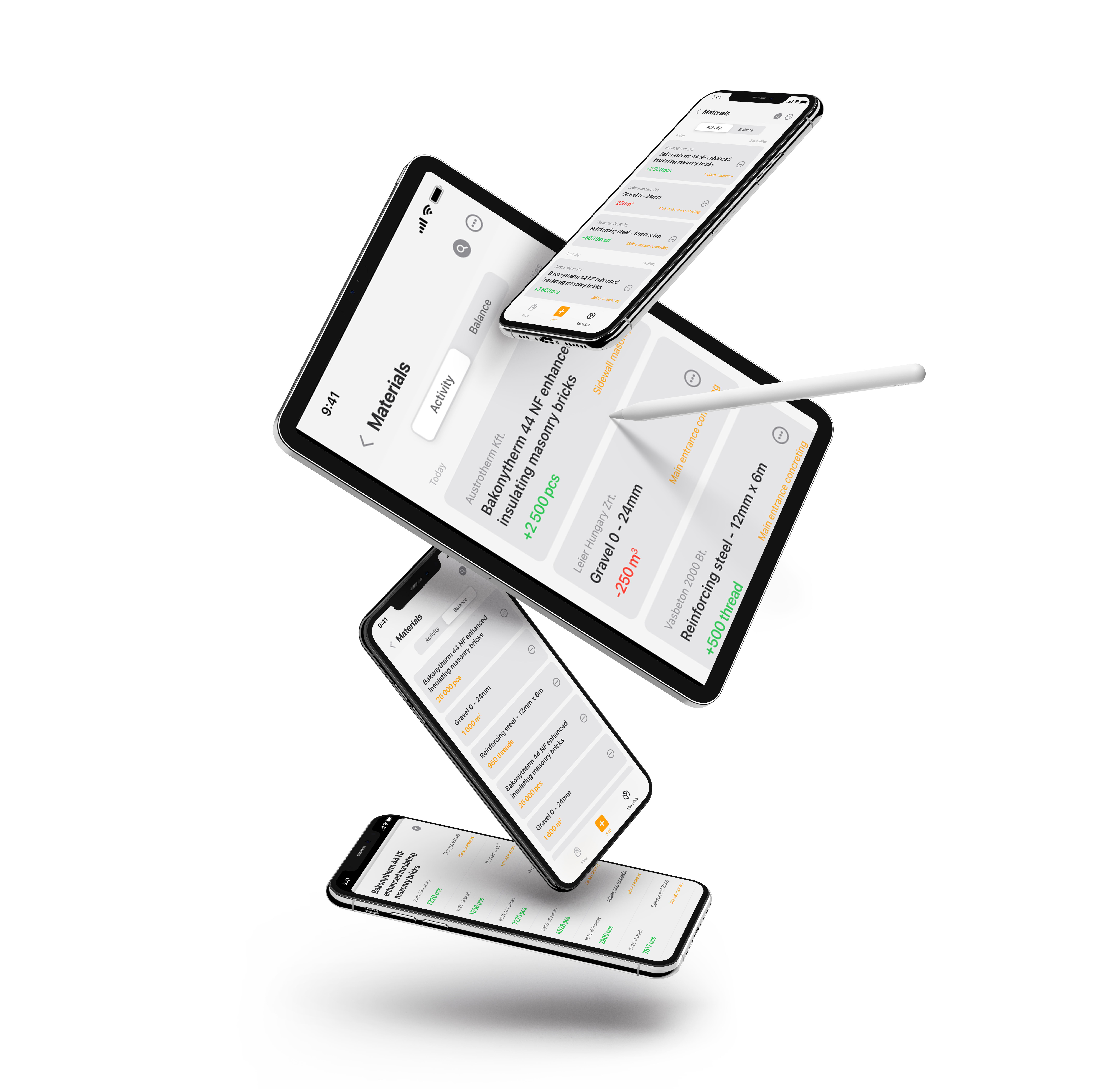 project management software material tracking on floating apple devices