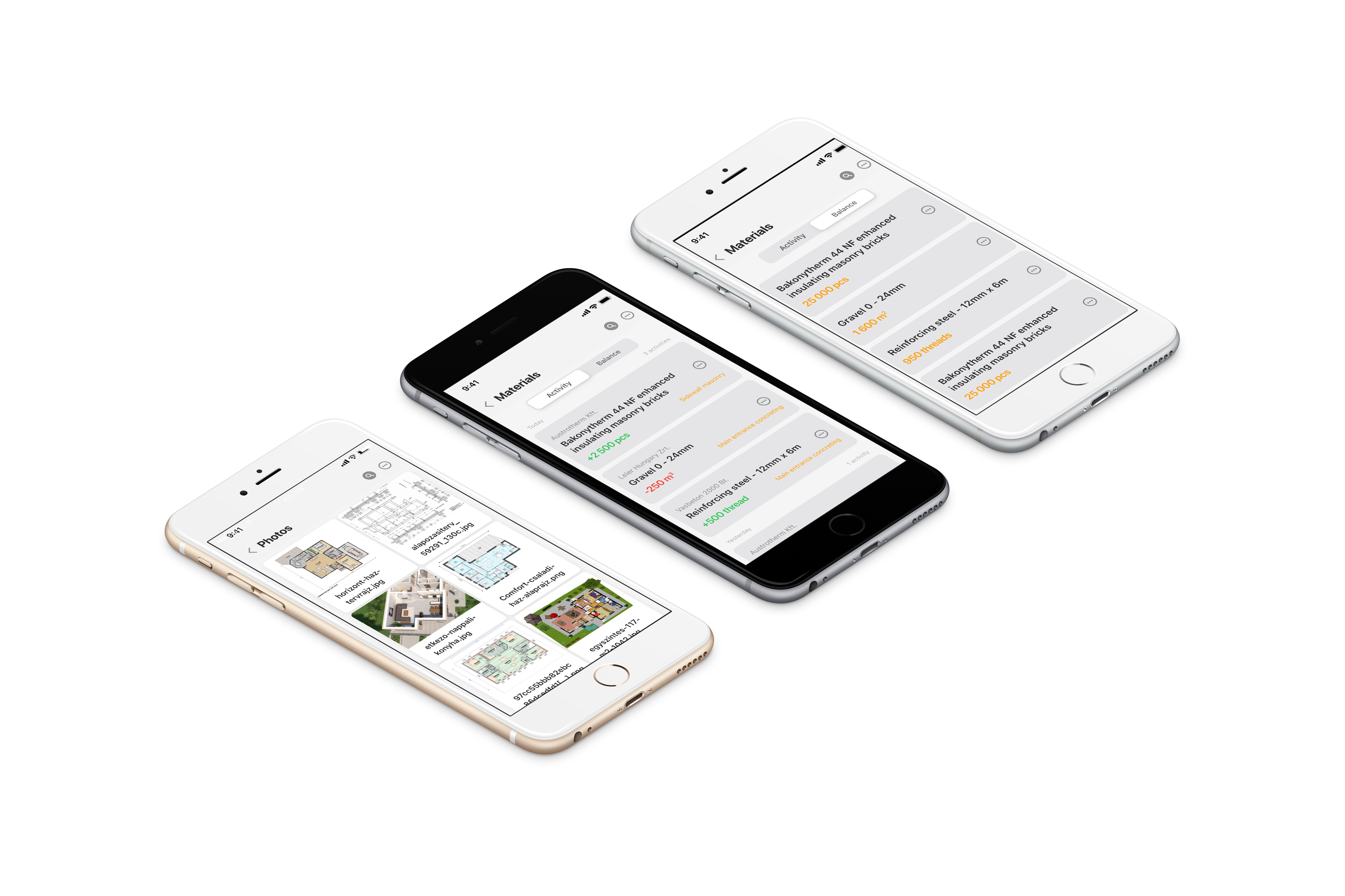 project management software material tracking feature on three iphone