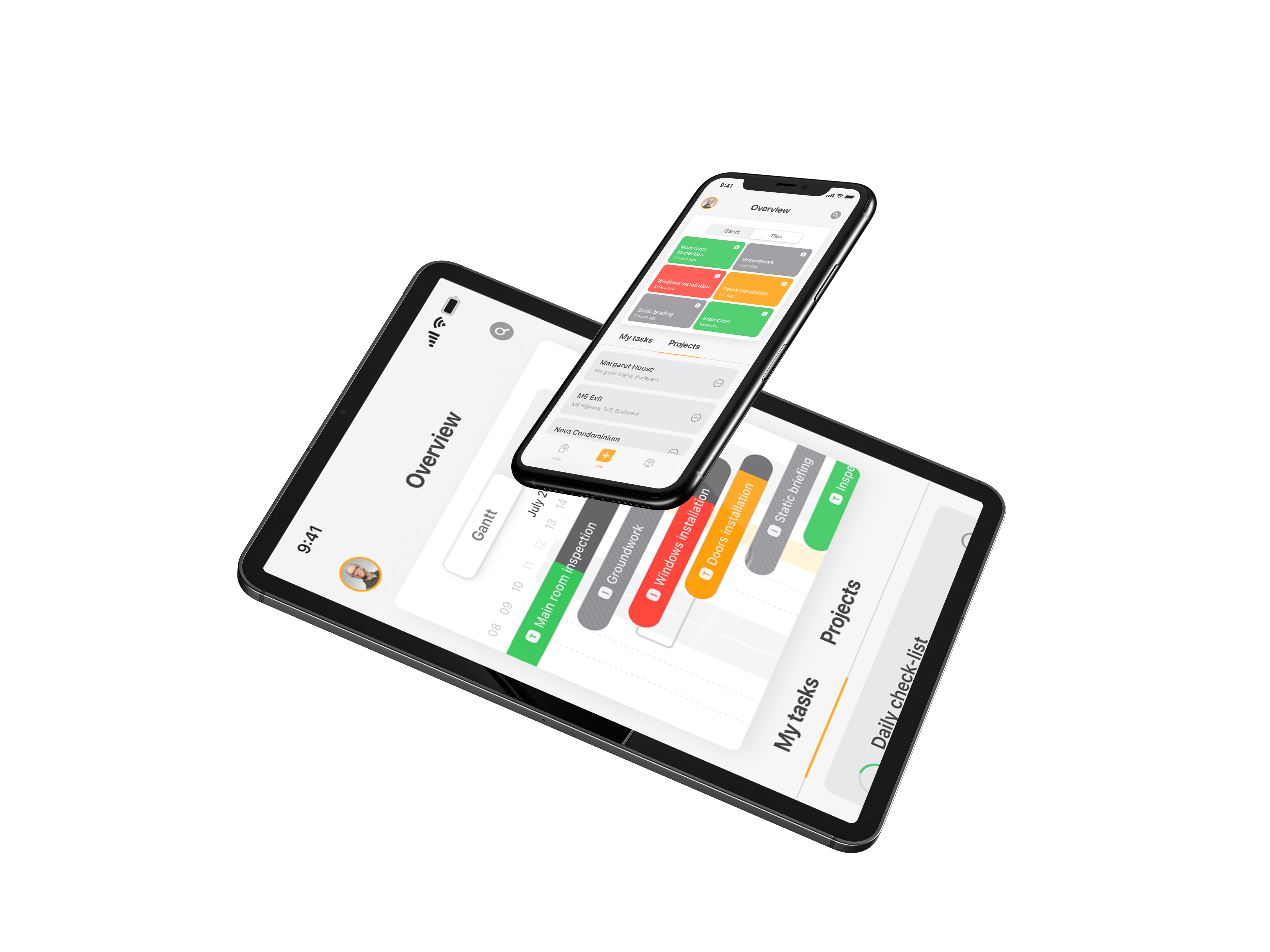 project management software task management on ipad tablet and iphone phone