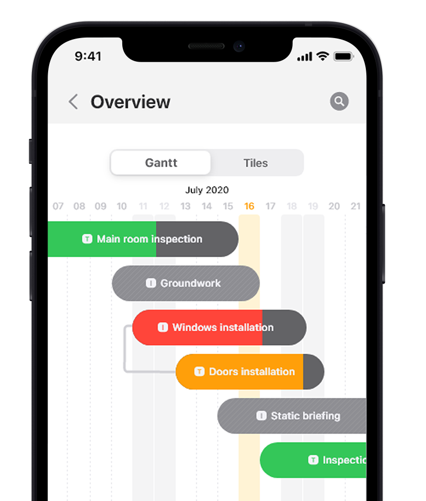 project management software material tracking on feature iphone